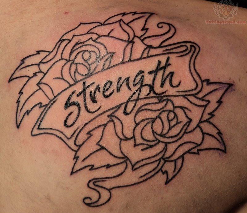 Rose Strength Banner Tattoo