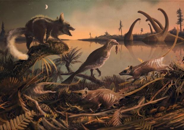 Ricostruzione dell'habitat dei primi mammiferi (fonte: Mark Witton, paleoartista dell'Università di Portsmouth) © Ansa
