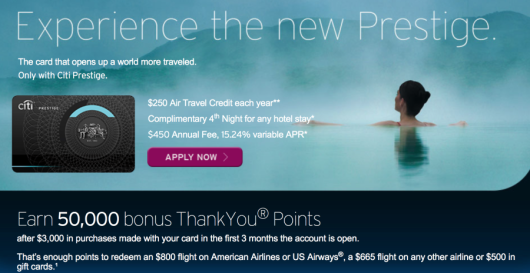 50,000 Points Citi Prestige - Limited Time Offer