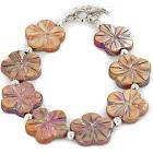Flower Certified Authentic Navajo Nickel Shell Native American Bracelet 13035-5