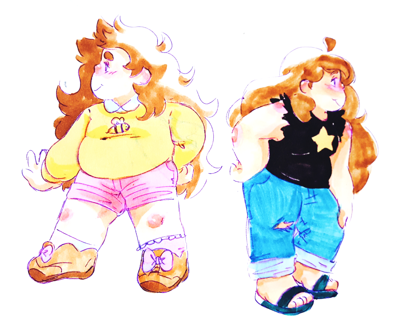 bee and greg tryin out each other's styles
