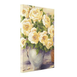 0548 Roses in Pitcher Wrapped Canvas Print