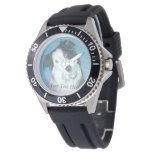 cute border collie dog with blue teddy bear wristwatch