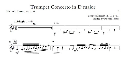 Leopold Mozart Trumpet Concerto in D major - sheet music solo play along
