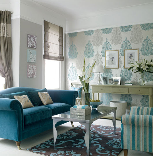 Interior designing ideas for making your living room blue & white