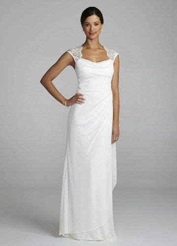 David's Bridal Wedding Dress: Lace Cap Sleeve Long Jersey