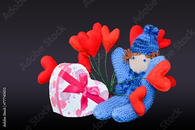 Valentines handmade gift girl with hearts made of wool