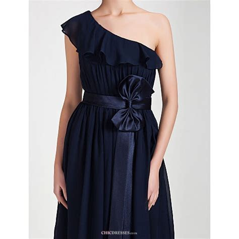 Knee length Chiffon Bridesmaid Dress   Dark Navy Plus