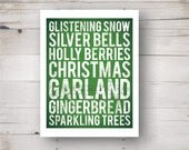 Green and White Christmas Subway Art Print 8 x 10 - heartworkbylaura