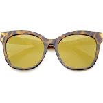 Women's Horn Rimmed Color Mirror Flat Lens Oversize Cat Eye Sunglasses 57mm, Tortoise / Gold Mirror