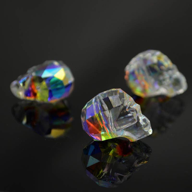 2775750s39205 Swarovski Bead - 19 mm Faceted Skull (5750) V - Crystal AB (1)