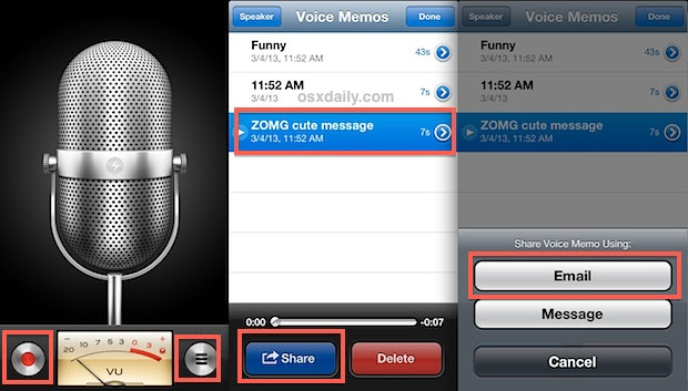 Transfer voice memo from an iPhone to computer