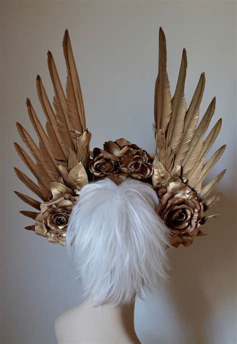 Gold Wings & Roses Headdress   Serpentfeathers