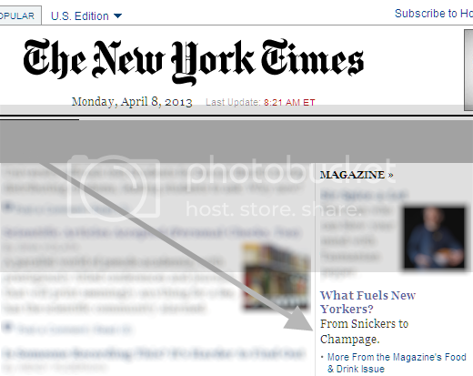 Screenshot of NYT front page blurb: 'What fuels New Yorkers? From Snickers to Champage.'