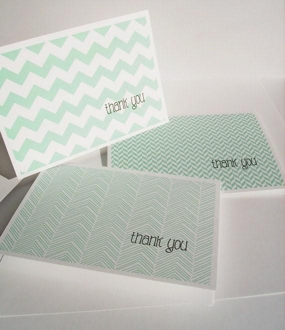 Modern Thank You Cards - Mint Thank You Notes, Chevron Stripes Herringbone Geometric Stationery Set Bright Aqua Mint Thank You Card Set - twin2kim