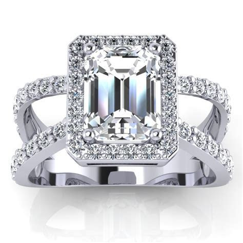 Emerald cut Diamond Engagement Ring 0.75..2.5 carat, 4