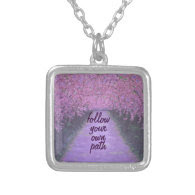 Follow your own path quote in Purple Pendants