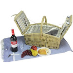 Northlight 2-Person Hand Woven Warm Gray and Natural Willow Insulated Picnic Basket Set with Accessories
