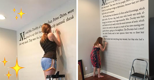 "Harry Potter Fan Paints First Page Of ""Sorcerer's Stone"" Onto Her Wall"