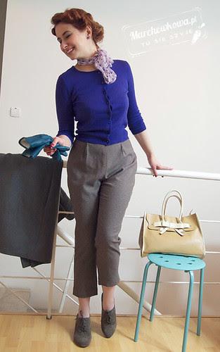marchewkowa, blog, szycie, krawiectwo, spodnie, capri, lata 60, tweed, wysoki stan, wykrój, Burda 5/2011 #124, sweter, Top Secret, ocieplane rękawiczki ze skóry, Ko-Moda