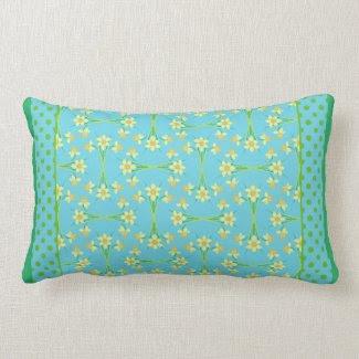 Chic Turquoise Lumbar Pillow: Daffodils Polka Dots