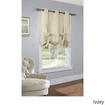 Thermalogic Prescott Solid Tie Up Curtain Panel, 40 x 63, Ivory