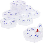 10 Pack Round Pill Box 7 Day Organizer, 3 inches Clear Portable Pocket Small Weekly Pill Case Travel Containers, Medicine Holder for Pills, Dose,