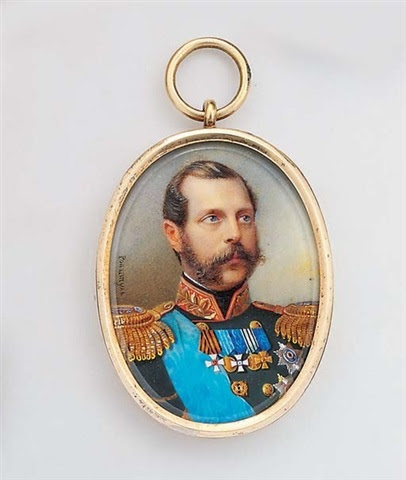 Alois Gustav Rockstuhl, Tsar Alexander II of Russia facing right in black uniform with gold-embroidered red collar and gold epaulettes