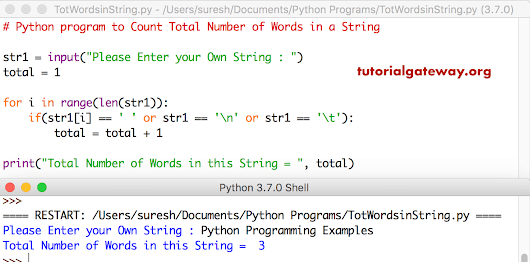 Python program to Count Total Number of Words in a String