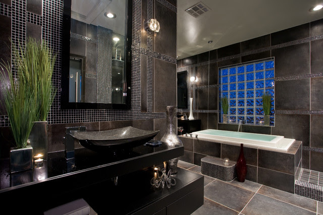 Contemporary black and gray master bathroom - contemporary ...