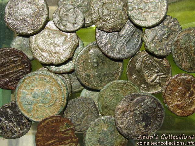"I picked these from the display of ""Roman coins from Kerala hoard"""