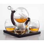Eravino Etched Globe Whiskey Decanter Gift Set Clear