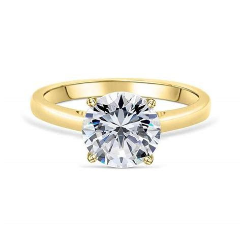 Yellow Gold Round Solitaire Engagement Ring   ModGents
