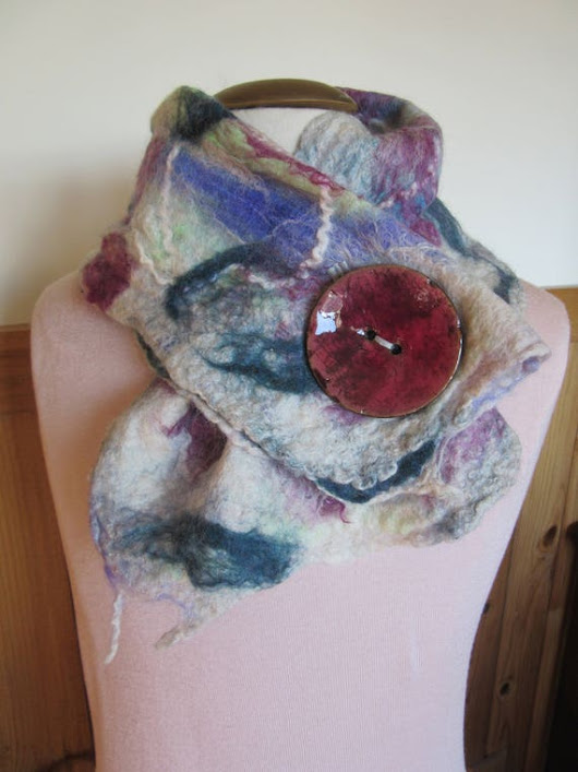 Nuno Felted Scarf/Neckwarmer Handmade from Alpaca and Other Fibers With Coconut Button