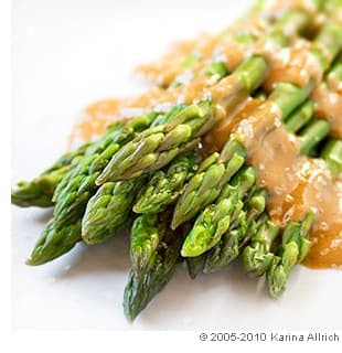 Asparagus With Maple Tahini Dressing