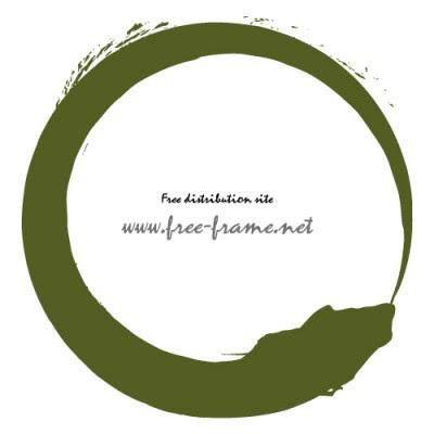 和的な緑色の毛筆丸枠フレーム素材 無料商用可能枠フレーム