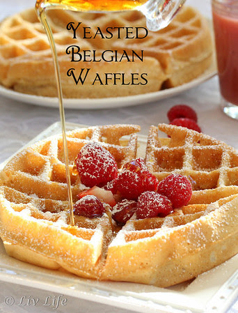 Yeasted Belgian Waffles with syrup pouring