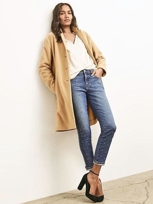 Le Fashion Blog Fall Style Wavy Hair Camel Double Face Car Coat Slouchy Cream Blouse Statement Denim Ankle Strap Heels Via Gap