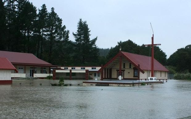 Floodwaters at Otiria marae and surrounds on Friday.