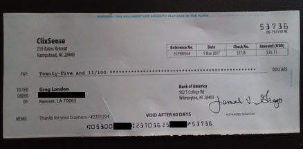 ClixSense payment proof - check received in mail | Get Paid to Sign Up and Make Money Online Blog!