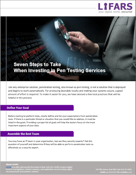 Seven Steps to Take When Investing in Pen Testing Services | LIFARS