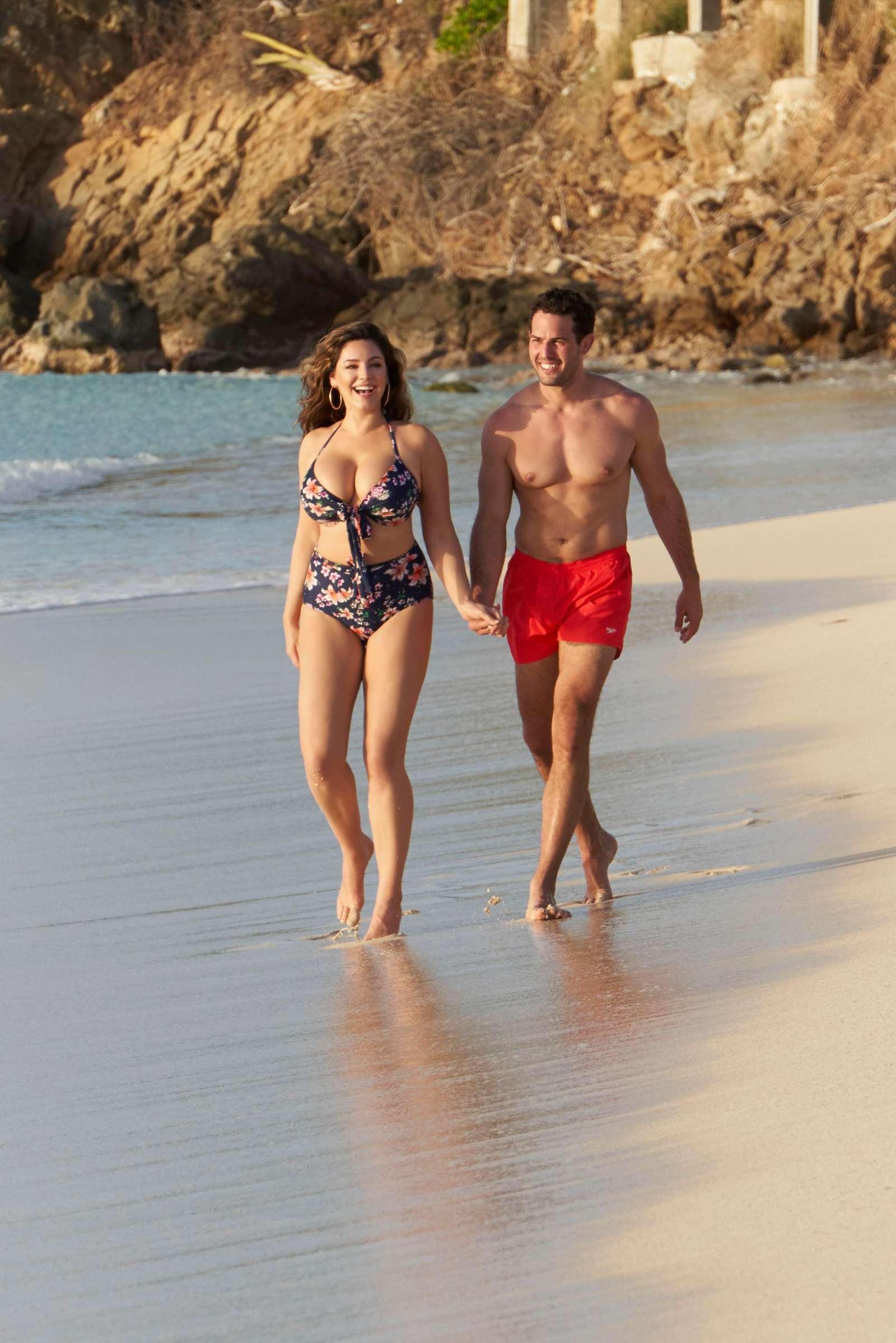Kelly Brook in Floral Bikini with boyfriend in Antigua