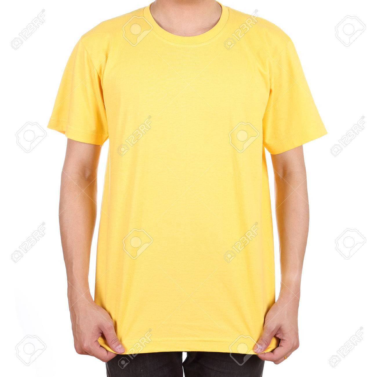 Blank Yellow T-shirt On Man (front Side) Isolated On White ...