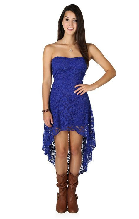 Strapless High Low Lace Dress with Open Bow Back   High