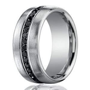 7.5mm 950 Platinum Black Diamond Men?s Wedding Ring