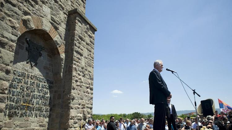 "Serbian President Tomislav Nikolic delivers a speech at the Gazimestan memorial, near Pristina, Kosovo, during a ceremony marking the historic ""Battle of Kosovo"", on June 28, 2014"