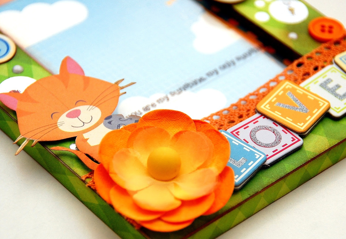 Loved Altered Frame by Irene Tan using BoBunny Toy Box collection