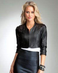 Bebe Feathered Leather Jacket