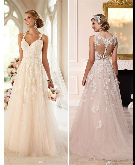 Blush Pink Lace Wedding Dresses 2016 Stella York Romantic