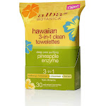 Alba Botanica Hawaiian Towelettes, 3-in-1 Clean, Deep Pore Purifying Pineapple Enzyme - 30 towelettes